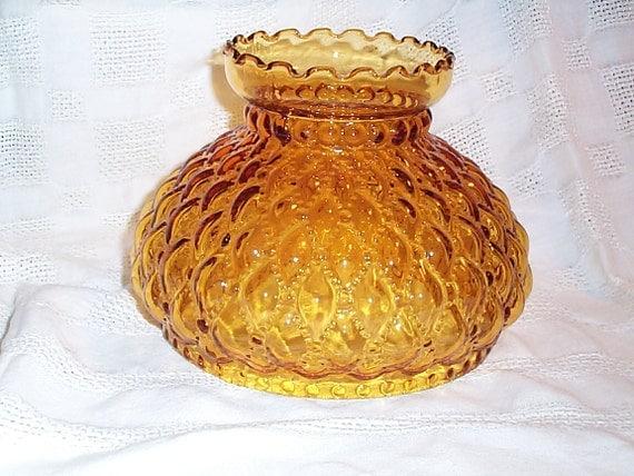Glass Lamp Shade Vintage Amber Hurricane Light Globe 6