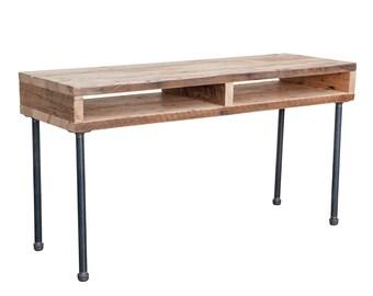 Reclaimed Barnwood and Steel Industrial Style Draftsman Desk