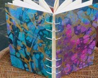 Hand-Bound, Pink Blue Gold Black Marbled, Blank Journal, Sketchbook, 6x9 Inch, Coptic Stitch, Journal
