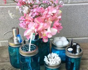 Tinted Mason Jar Bathroom Set