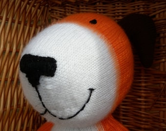 Kipper is a hand knitted toy and he is so cute and cuddly and he is made to order