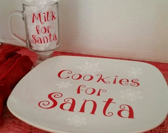 Cookies and Milk for Santa Plate and Glass Cookies Plate  Christmas Plate