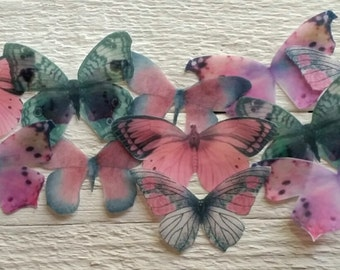Edible Pink and Gray Wafer Butterflies Collection Set of 15