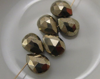 Gold Plated Pyrite Faceted Briolette - 2 Briolettes #3684