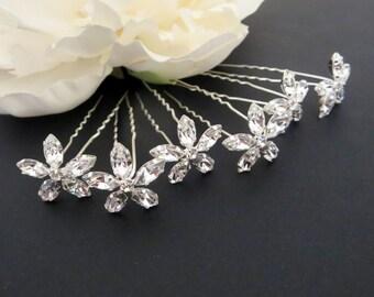 Bridal hair pins, Rhinestone hair pins, Wedding hair accessories, Crystal hair pins, Set of 6 hair pins, Wedding hair pins, Flower pins