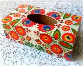 Decoupage tissue box , Polish folk tissue box , wooden tissue box , Polish folk art