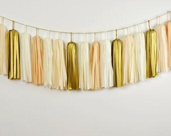 Golden Champagne Tissue Tassel Garland, Wedding Bunting, Nursery Decor, Baby Shower, Bridal Shower, Backdrop
