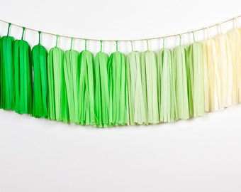 Ombre Green Tassel Garland, Green Garland, Green Photo Backdrop, Green Birthday Party, St Patrick's Day, Green Baby Shower, Green Nursery