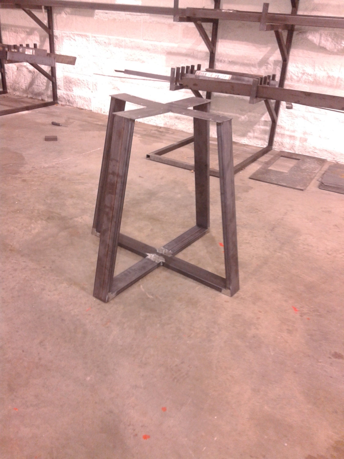 steel table base industrial metal tapered style any. Black Bedroom Furniture Sets. Home Design Ideas