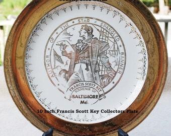 Vintage Francis Scott Key Collectors Plate - 10 Inch