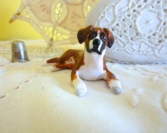 Boxer Dog Miniature Figurine