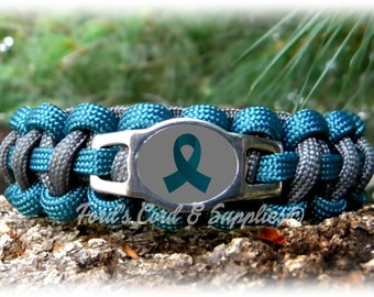 Teal Awareness Bracelet, Paracord Survival Bracelet, Ovarian Cancer, Cervical Cancer, Myasthenia Gravis, PTSD, Tourette's Syndrome, Survivor