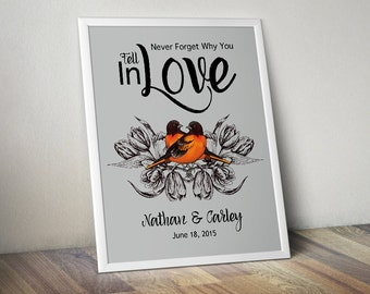 Wedding Love Birds Print, Personalized Birds on Branch Wedding Gift, Anniversary Gift for Couples Gift, Love Quote Print, Couples Wall Art