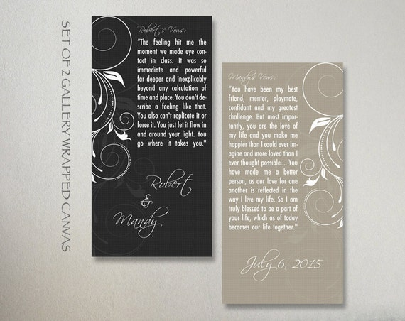 Art Piece Wedding Gift : Wedding Vows Canvas Set Gift, Personalized Wedding Vows Set 2 Pieces ...