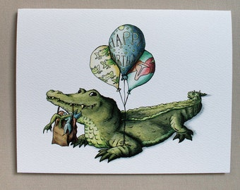 Alligator Birthday Cards w/Envelopes {8-Pack}