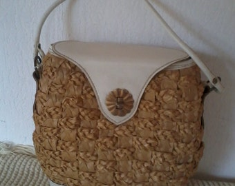 basket, Wicker year 1960 handbag
