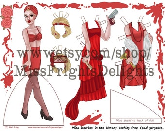 Miss Scarlet Paper Doll - Vintage Fashion Instant Download Printable - 20s Clue Cluedo Style Dress Up Doll Art Print
