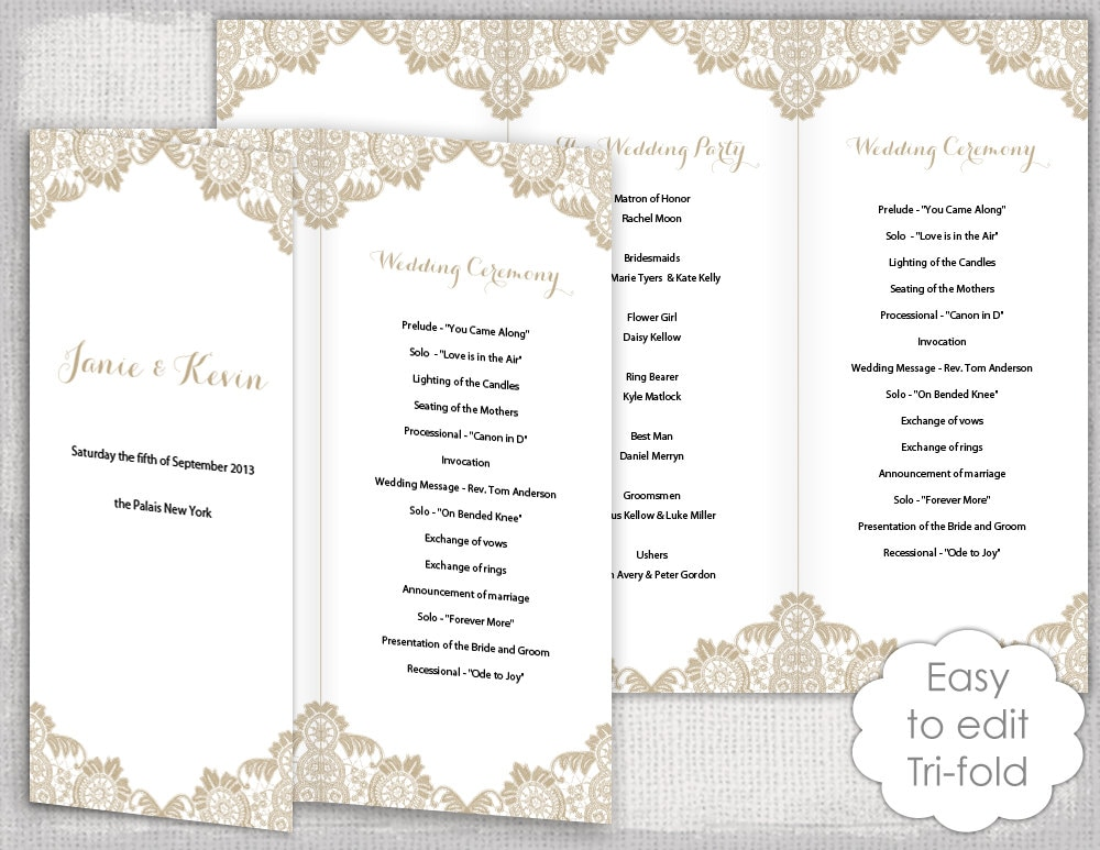 trifold silhouette program weddingbee photo gallery