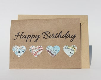 Happy Birthday Card - Vintage Map Card - Travel Card - Map Hearts - Map Card - Kraft Card