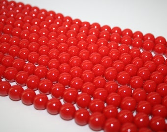 Red Glass Beads, Glass Beads, Beads- 10mm - 43ct - D096