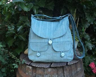 Ice blue corduroy messenger bag,buttoned big bag