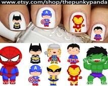 Buy 2 Get 1 Free-180 Decals Total-60 Nail Decals Per Set - SUPERHERO Cuties BoYs Spiderman Batman Captain America Iron Man Hulk Super Hero