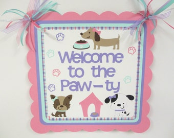 Dog Puppy Door Welcome Sign Birthday Party Shower Aqua Turquoise Purple Pink