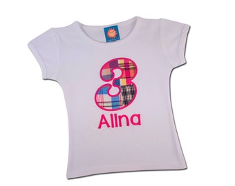 Girl's Birthday Number Shirt with Number and Embroidered Name