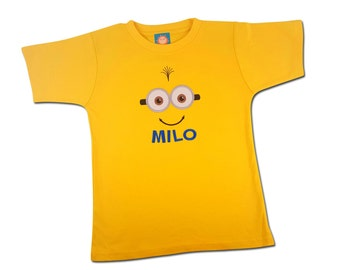 Boy's Yellow Friendly Face Shirt with Embroidered Name - #4