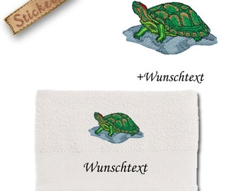 Bath towel embroidered with TURTLE + own words
