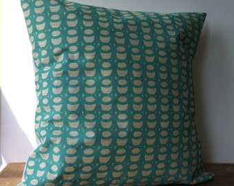 "light green/yellow and turquoise design printed on white pillow cover. Ivory fabric on back. Hand screen printed  - 18""x18"""