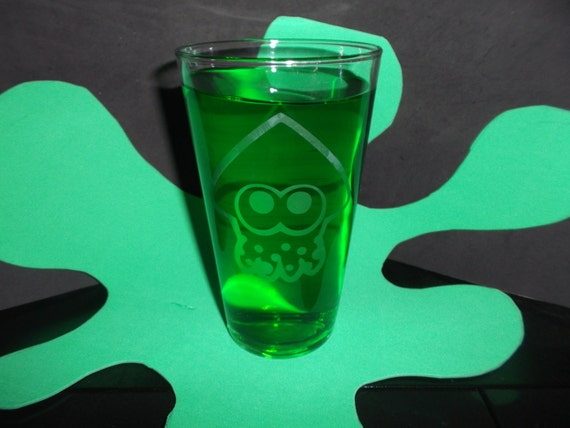 Splatoon Squid Etched pub glass