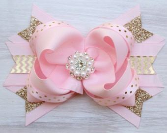 First Birthday Headband and Bow 1st Birthday Headband with pink and gold Birthday Bow for One Year Old