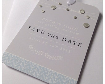 Silver Sparkle Save the Dates Sample