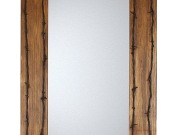 Old Ranch  Rustic Barbed Wire Mirror-Mexican-20x34 in-Western-Lodge-Wood-Wall-Distressed-Natural