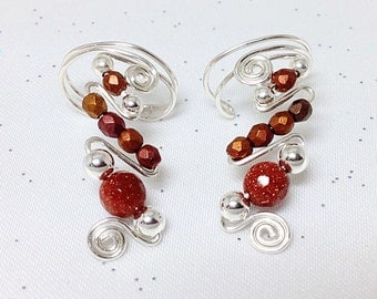 EarCuffs, Sparkly Sandstone Beads, with Czech glass beads on Silver wire, pair, fall colors, no pinching, subtle and glamorous, nickel free