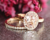 Halo Ring Wedding Set in 14k Rose Gold 9x7mm Oval Morganite Engagement Ring and Half Diamond Eternity Wedding Band (Custom Ring Set ok)