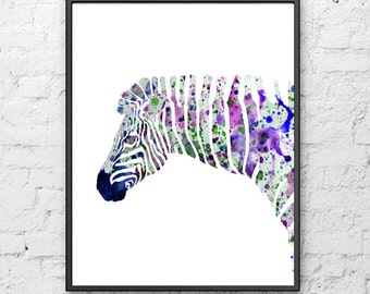 Nursery Zebra watercolor print, animal watercolor painting, animal art print, safari art, jungle art, home wall decor, illustration art - 30
