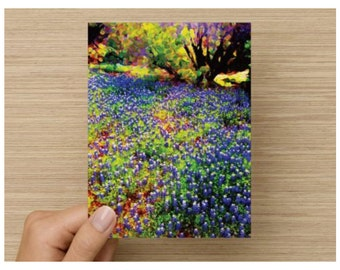 Note Cards Blank Set of 8 Bluebonnet Texas Hill Country Landscape Art Thank You Card Greeting Card Stationery