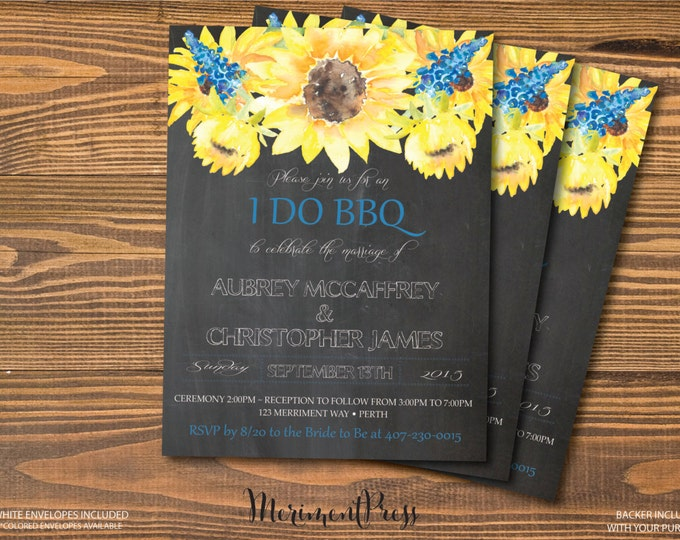 Sunflower I Do BBQ Invitation Chalkboard Watercolor Sunflower Invitation Calligraphy Wedding Invitation, Yellow, Blue - TUSCANY