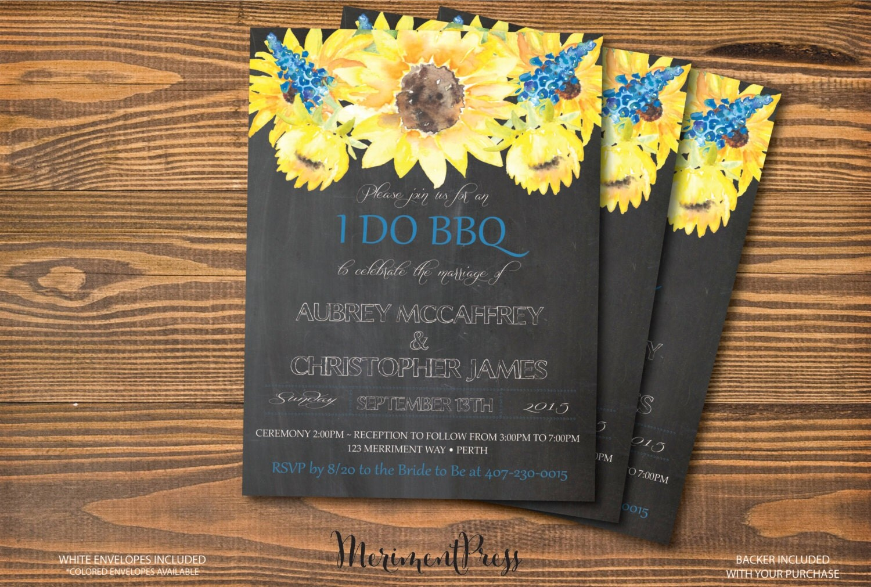 Forget Me Not Wedding Invitations: Sunflower I Do BBQ Invitation Chalkboard Watercolor Sunflower