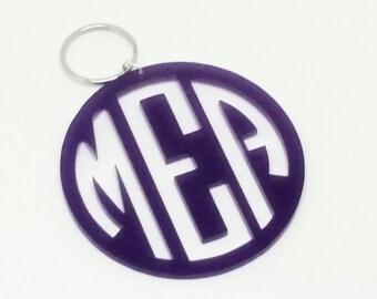 """Large 3"""" Purple Acrylic Monogram Keychain"""