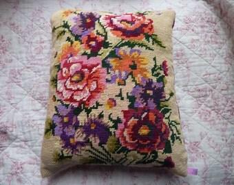 Cushion canvas bouquet of flowers beige background