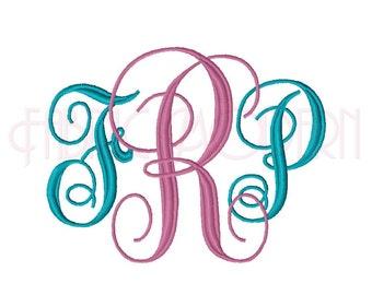 Large INTERLOCKING VINE MONOGRAM Font Embroidery Font, three sizes, bx, Large size monogram alphabet, #528