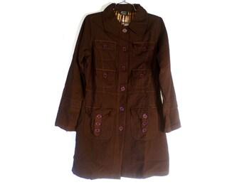 FREE SHIPPING - Vintage Long Brown Cargo Pocket Jacket