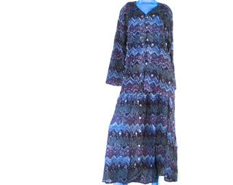 Vintage 80s Blouse and Skirt Set Bohemian Hippie Gypsy