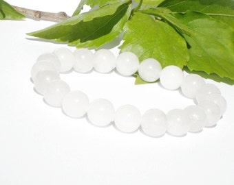 10mm White Nephrite Bracelet, White Jade Bracelet, Jade Stretch Bracelet, Gemstone Bead Bracelet, Bracelet Womens, White Bridesmaid Gift