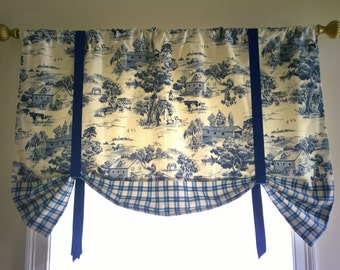 Toile window valance, elegant and classy tie up blue window valance