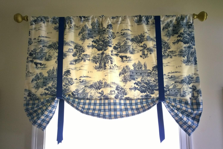 Toile Window Valance Elegant And Classy Tie Up Blue Window