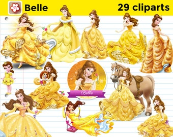 29 Belle Disney Princess Beauty and The Beast Cliparts Instant Download